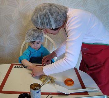 Sam and Grandma making Hamantashen