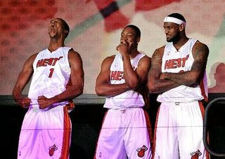 Cool kids. Lebron, Dwade and goofy Bosh.