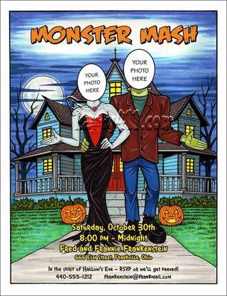 Frankenstein couples halloween invitation