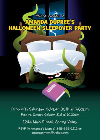Halloween Invitation that plays on our child hood fears. Something is under the bed