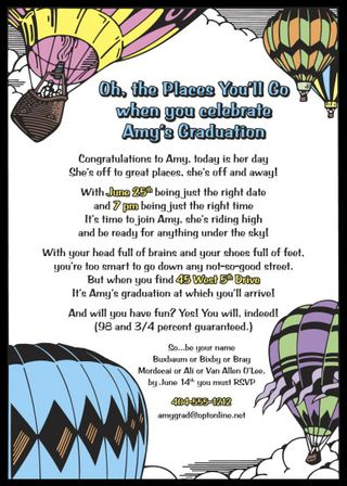 Dr. Suess graduation invitation, with words that you actually know