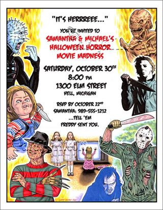 80s Horror movie character invite. They're here