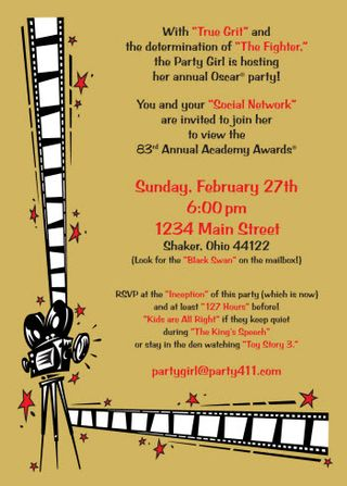 2011 oscars party invitation daily party dish