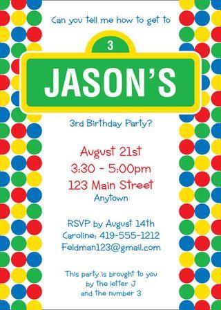 Sesame St Theme Invitation