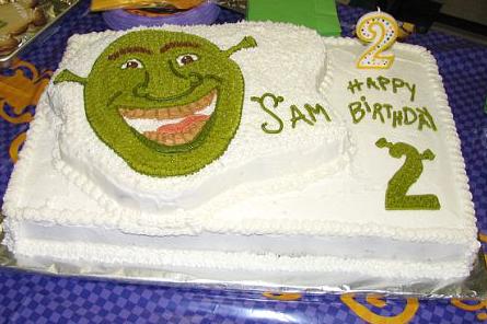 Happy 2nd Birthday – a Shrek theme birthday cake