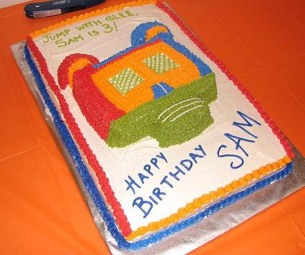 Bounce Happy 3rd Birthday – a bounce house theme birthday cake