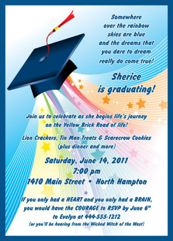 Land of the Oz graduation invite