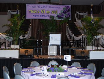 Violet theme stage decorations