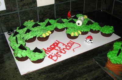 Neverland Crocodile Cupcake Cake