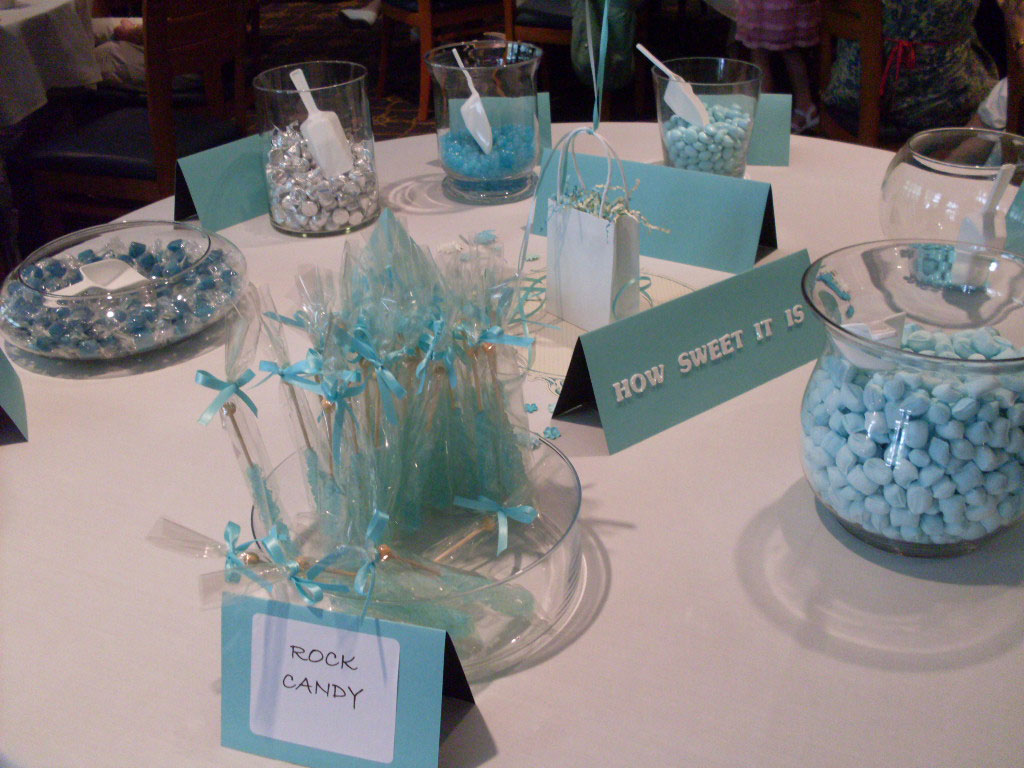 bridal shower favors set up a candy buffet