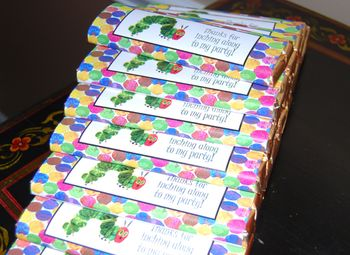 Very Yummy Candy Bar Party Favors - Hungry Catepillar Theme