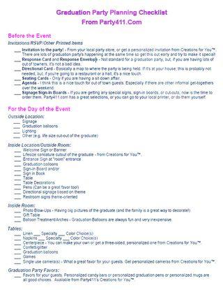 Graduation party planning pdf
