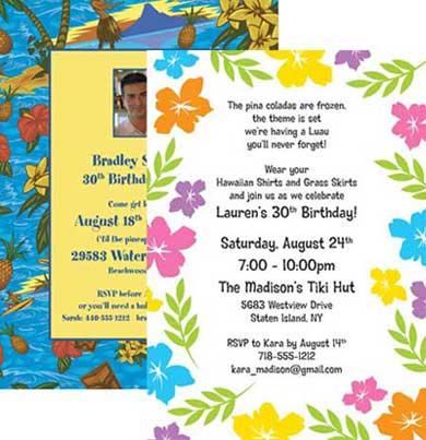 Luau Party Theme Invitation