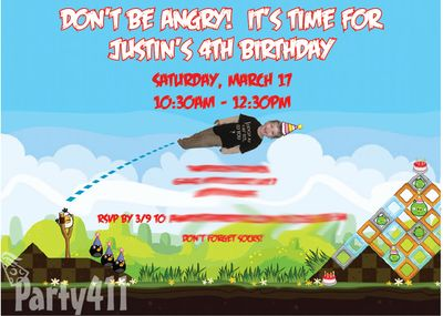 Angry Birds Party Invitation Ideas