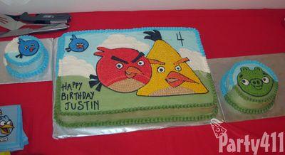 Angry Birds theme birthday cake