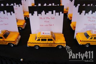 New York Theme Party Taxi Seating Cards