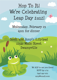 Leap Day Party Invitations and Favors