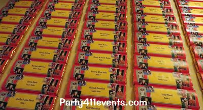 Seating cards with custom candy bars