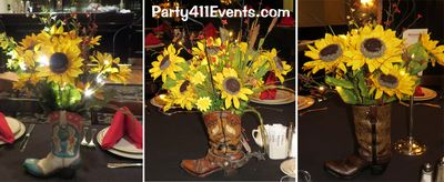 Western Boot Centerpieces for Horse theme Bat Mitzvah