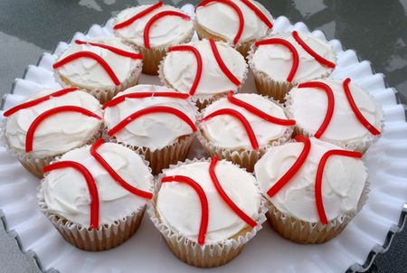 Baseball cupcakes for theme party