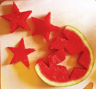Watermelon stars for a backyard bbq