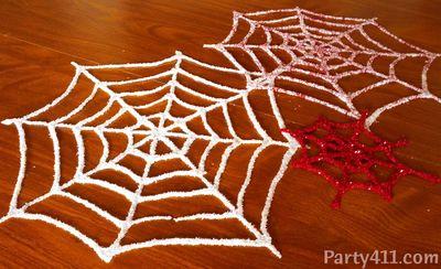 Halloween Glitter spider web idea