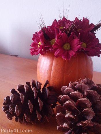 Pumpkin vase Thanksgiving centerpiece