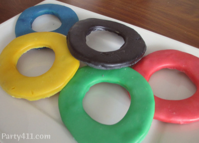 Winter Olympic Ring Sugar Cookies or Favors