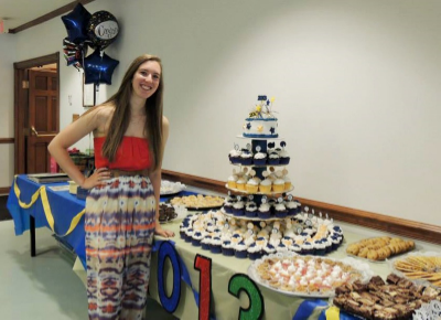 This Long Table Popped With Trays Of Delicious Homemade Desserts In The Center Decorations Grads School Colors