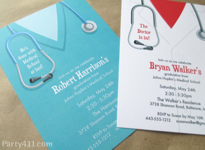Medical school graduation party invitations daily party dish surprise your grad with a medical school theme party to celebrate the achievement of becoming an md choose either a graduation doctors coat invitation or filmwisefo