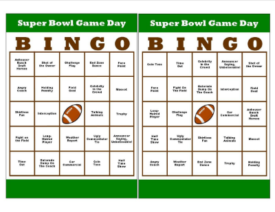 Super Bowl Game Day Bingo