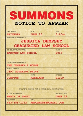 Subpoena law school graduation invitation ideas daily party dish filmwisefo Images