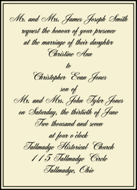Formal Invitation Wording Sample