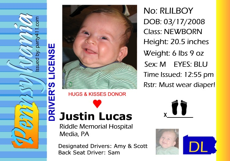 Driver's License Baby Announcements
